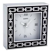 Silver Link Midnight  Black Enamel Clock