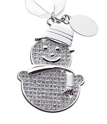 Holiday Snowman Ornament Sparkle With Tag