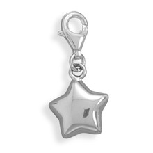 Puffy Star Charm Sterling Silver With Lobster Clasp