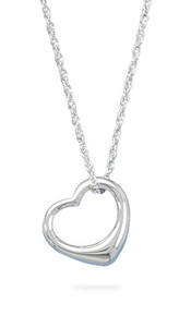 "18"" Necklace and Floating Heart Pendant"