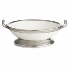 Tuscan Footed Ceramic and Pewter Bowl with Handles