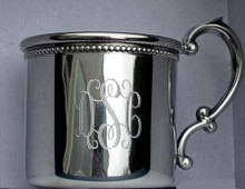 Pewter Baby Cup  Beaded