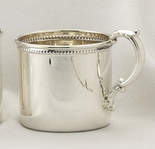 Sterling Silver .925 Baby Cup Beaded Boarder