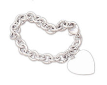 Sterling Cable Bracelet with Heart Tag