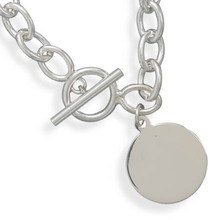 Sterling Toggle Bracelet with Round Tag