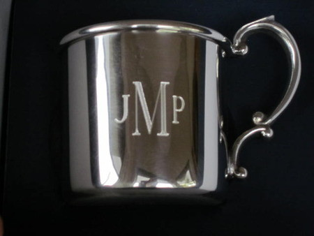Pewter Baby Cup Shown with Roman Monogram Last Name Initial Larger in Center