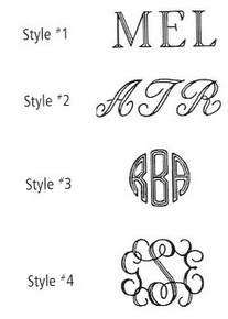 Style #1 Roman (First-Middle-Last Initial all same size). Style#2  Script   (First-Middle-Last Initial all same size). Style#3 Circle Monogram (First-LAST LARGER-Middle Initial) Style#4 Interlocking Monogram (First-LAST LARGER-Middle Initial)  Last Name Initial always Larger Center Position for these two classic monograms Style#3 & Style#4