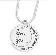 ".925 sterling silver necklace 18""  love you ... to the moon and back"