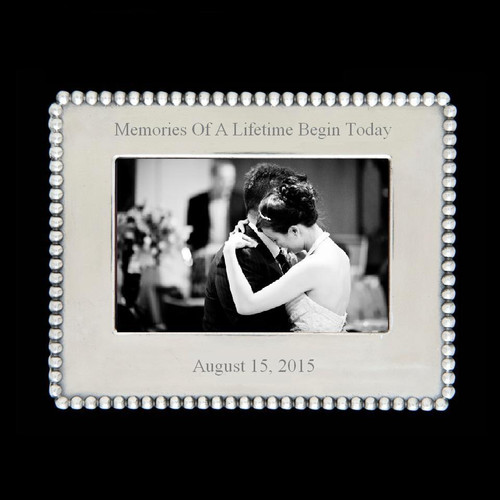 "Engraved With - Memories Of A Lifetime Begin Today add engraving of your special date as shown Metal alloy non-tarnishing Holds 4""x6"" Photo"