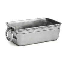 """a stunning serving piece for your table. Also use it to serve other items such as crackers when entertaining. Italian pewter, Hand made in Italy. Hand wash only. Dimensions: 8.75"""" L X 4.75"""" W X 2.5"""" H"""