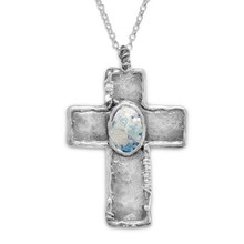 "Roman Glass Oxidized Sterling Silver Cross with 18"" Chain"