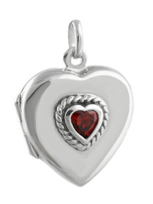 Heart Locket Sterling Silver with Garnet
