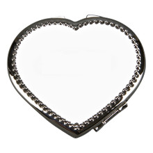 National Charity League NCL Logo Engraved Heart Mirror Compact Beaded Border