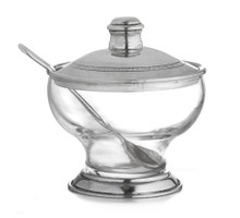 Italian Pewter & Glass Covered Bowl with Spoon