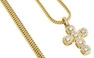 Diamond Mini Cross Pendant Round Cut Yellow Gold Charm w/ Franco Chain 1.50 Ct.