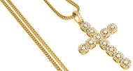 Diamond Cross Pendant Mens Round Cut Yellow Gold Charm w/ Franco Chain 2.65 Ct.