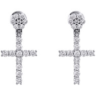 10K White Gold Real Diamond Prong Set Cross Danglers Drop Earrings Studs 1.82 CT