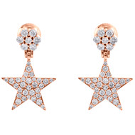 10K Rose Gold Diamond Star Danglers Drop Unisex Earrings Flower Studs 1.32 CT.