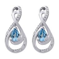 10K White Gold Created Topaz & Diamond Infinity Drop Dangle Earrings 0.12 Ct.