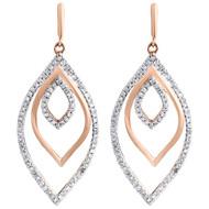 10K Rose Gold Petal Shape Diamond Dangle Drop Ladies Fashion Earrings 0.45 Ct.