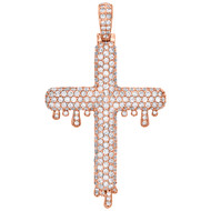 "10K Rose Gold Genuine Round Diamond Drip Cross Pendant Mens 2"" Charm 3.82 CT."