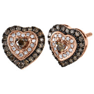 10K Rose Gold Brown & White Round Diamond Heart Stud Halo Earrings 10.5mm 5/8 CT