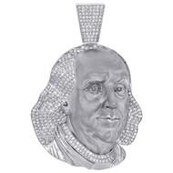 "10K White Gold Mens Diamond Benjamin Franklin Face Pendant 2.35"" Charm 1.93 CT."