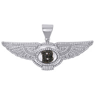 10K White Gold Mens Genuine Diamond Bentley Letter B Pendant Mens Charm 1.25 CT.