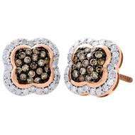 10K Rose Gold Brown Diamond Studs Ladies 9.25mm Flower Dome Earrings 0.50 Ct.