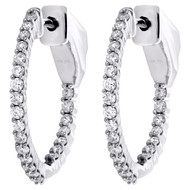"10K White Gold Round Diamond In & Out Hinged Hoop Earrings 0.75"" Long 0.50 CT."