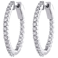 10K White Gold Round Diamond Prong Set In & Out Hoop Earrings 24mm Huggie 1 CT.