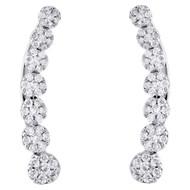 "10K White Gold Diamond Ear Climbers Graduated Flower Earrings 0.85"" Long 0.50 CT"