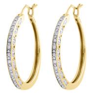 "10K Yellow Gold Ladies Round Diamond Hoops Hinged Earrings 0.95"" Long 0.17 Ct."