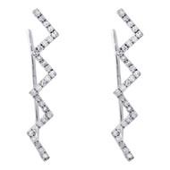 "10K White Gold Diamond Ear Climbers Zig Zag Hook Earrings 0.75"" Long 0.17 CT."