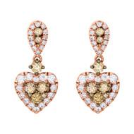 """10K Rose Gold Brown Diamond Heart Danglers Ladies Stud Earrings 0.75"""" 1 CT."""