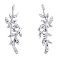 "10K White Gold Diamond Ear Climbers Leaf Design Earrings 1"" Long 0.20 CT."