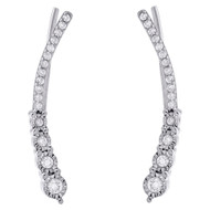 .925 Sterling Silver Diamond Ear Climbers Graduated Stones Earrings 0.25 CT.