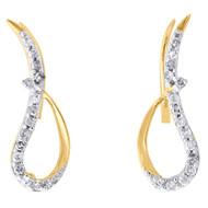 10K Yellow Gold Round Diamond Cut Out Wings Ear Climbers Fancy Earrings 0.20 Ct.