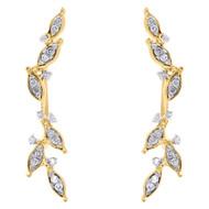 "10K Yellow Gold Diamond Ear Climbers Leaf Design Earrings 1"" Long 0.20 CT."