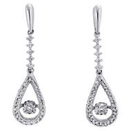 """10K White Gold Dancing Diamond Danglers Fancy Tear Drop 1.05"""" Earrings 1/5 CT."""