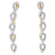 10K Yellow Gold Real Round Diamond Tear Drop Earring Climbers 1.05"