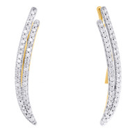 10K Yellow Gold Real Diamond Double Two Row Ear Climber Earrings 0.95"