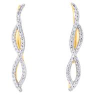 "10K Yellow Gold Round Diamond Infinity Frame Ear Climber Earrings 1""   1/4 CT."
