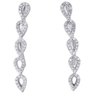 10K White Gold Real Round Diamond Tear Drop Ear Climber Earrings 1.05"