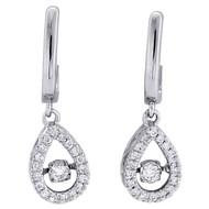 "10K White Gold Real Dancing Diamond Danglers Fany Oval Frame 1"" Earrings 1/4 CT."