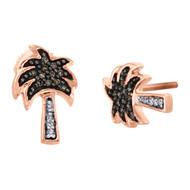 10K Rose Gold Brown & White Diamond Mini 8.5mm Palm Tree Stud Earrings 0.13 CT.