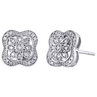 .925 Sterling Silver Diamond 9.25mm Small Flower Square Stud Earrings 0.13 CT.