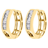"10K Yellow Gold Baguette Diamond Huggies Hoop Ladies 0.50"" Earrings 0.15 ct."