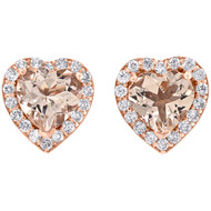 10K Rose Gold Diamond & Heart Shape Morganite Stud 8.50mm Earrings 1.50 CT. T.W.