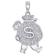 "10K White Gold Real Diamond Walking Money Bag Pendant 1.15"" Pave Charm 1/4 CT."